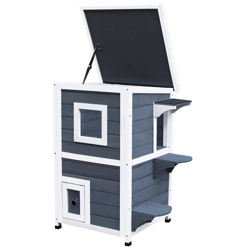 PawHut® Domek dla kota 2 piętra domek dla kota ze schodami dach asfaltowy okna drewno jodłowe szary 51 x 51 x 81,3 cm