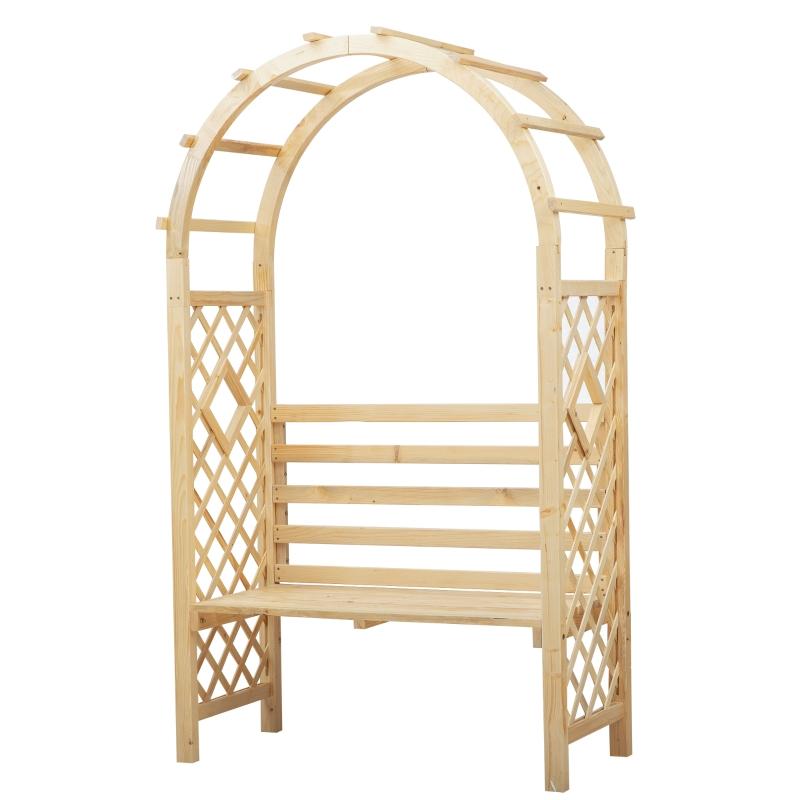 Łuk różany z ławką ławka różana pergola trellis ławka ogrodowa lite drewno naturalne Outsunny®