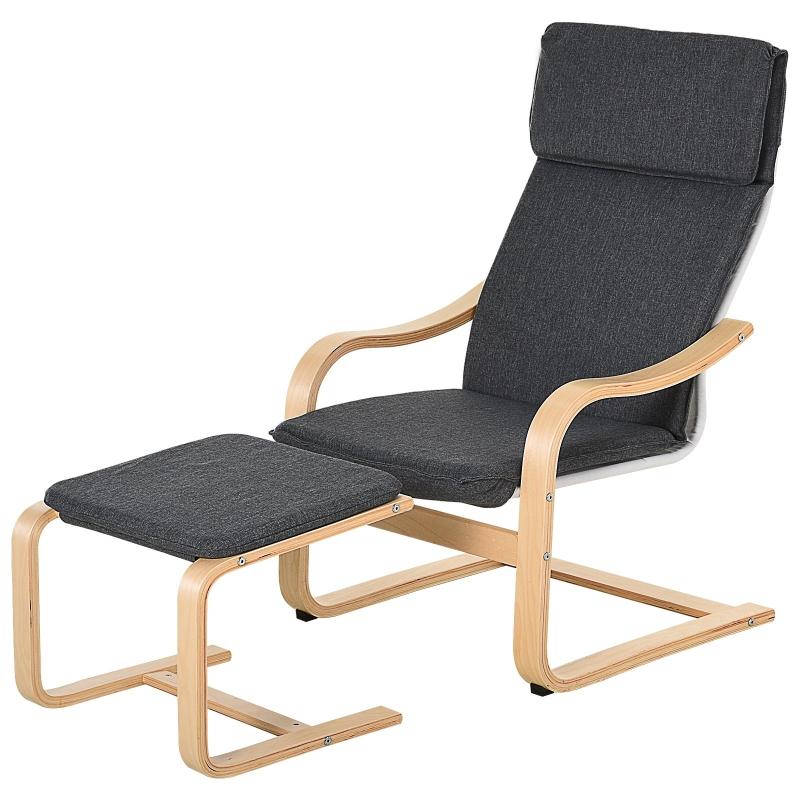 Fotel z pufą Fotel wypoczynkowy z podłokietnikami lniane obicie drewniana rama szary