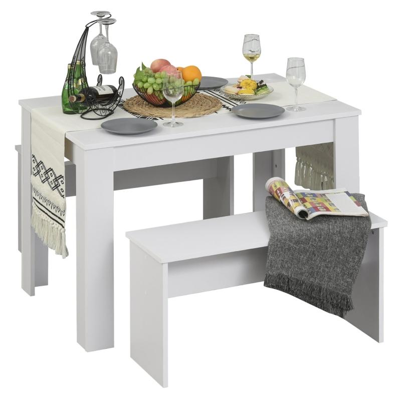 Zestaw jadalniany z 2 ławkami Zestaw do jadalni Komplet stół z krzesłami Komplet ze stołem biały