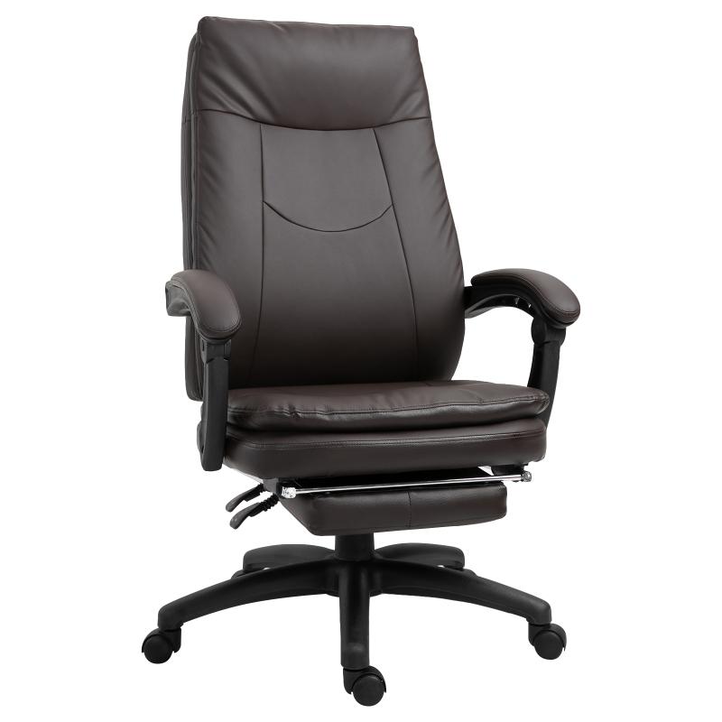 Ergonomiczne krzesło biurowe z podnóżkiem fotel dyrektorski wyściełane oparcie brązowy