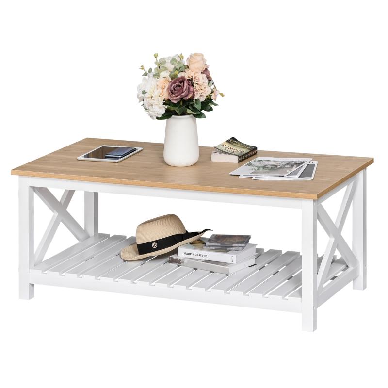 Stolik kawowy stoliczek stolik MDF styl rustykalny naturalny + biały