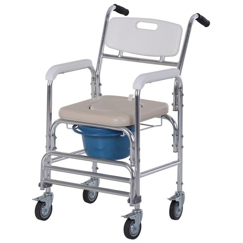 HOMCOM® Wózek Toaletowy Krzesło Nocne Prysznicowe Pomoc przy Poruszaniu Aluminium Biały