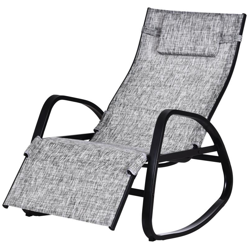 Leżak bujany ogrodowy regulacja oparcia zagłówek textilene szary Outsunny