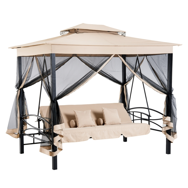 Huśtawka z dachem i ze ściankami bocznymi Huśtawka ogrodowa Huśtawka 3-osobowa beżowy