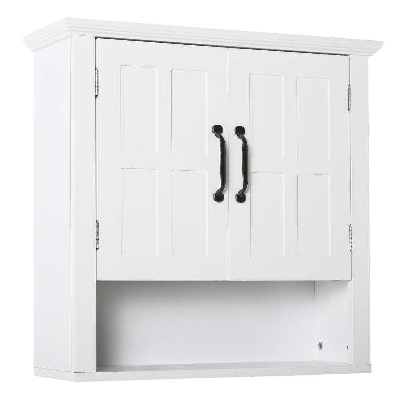 kleankin® SZAFKA ŚCIENNA WISZĄCA KUCHENNA ŁAZIENKOWA drewno biała 60 x 19,8 x 58 cm