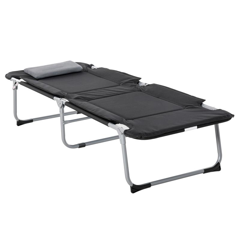 Łóżko kempingowe Łóżko polowe składane łóżko z poduszkami Leżak kempingowy z torbą, czarne