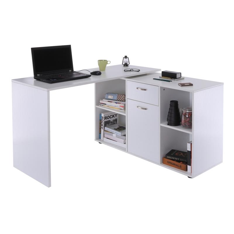 Biurko narożne biurko komputerowe biurko kątowe stół biurowy MDF biały