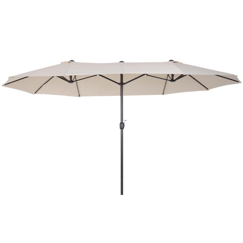 Parasol przeciwsłoneczny ogrodowy z korbką ręczną owalny metal + poliester kremowo-biały 460 x 270 x 240 cm Outsunny