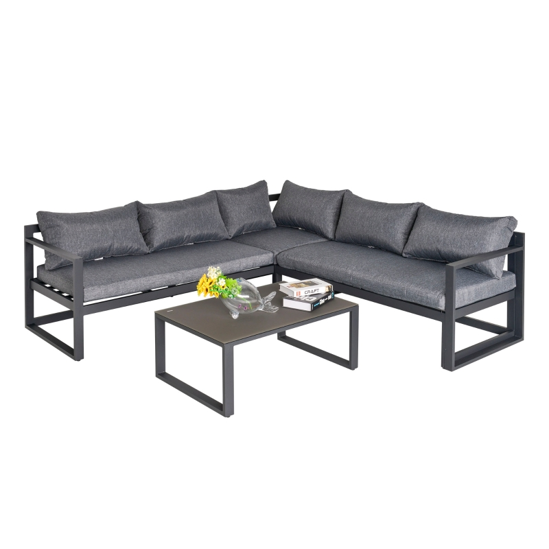 3-częściowy zestaw mebli ogrodowych z 4-stopniową regulacją Leżak ogrodowy, komplet stolik z krzesłami, aluminiowy, szary