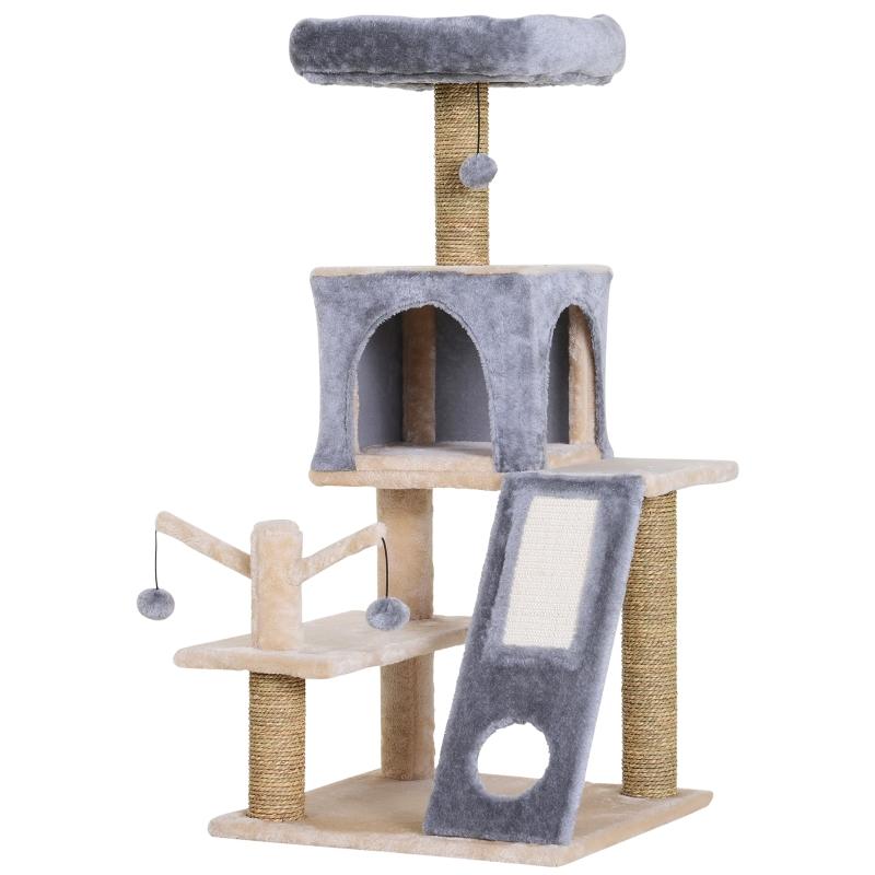 Drapak dla kota domek z tunelem drzewko do wspinania słupek do drapania sizal szary 48 x 49 x 108 cm PawHut®