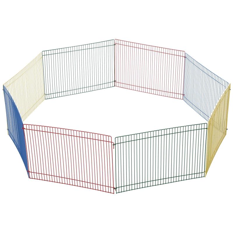 PawHut® Kojec dla Małych Zwierząt 8-częściowy Wybieg dla Chomików Metal Wielokolorowy 69 X 69 X 23 cm