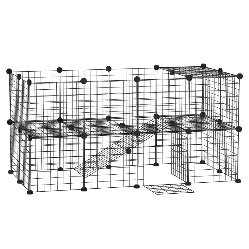 Kojec PawHut® metalowy kojec na małe zwierzęta wiele opcji złożenia czarny metal 146 x 73 x 73 cm