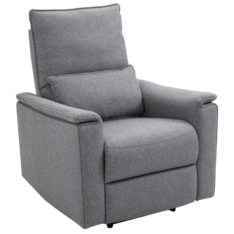 Fotel Fotel rozkładany Fotel telewizyjny odchylany o 150° Materiał imitujący len Szary