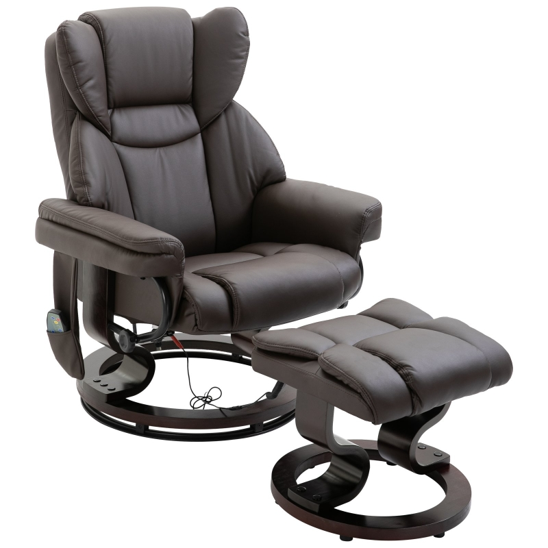 Fotel z masażem z podnóżkiem Fotel relaksacyjny Funkcja ogrzewania 135° nachylenia PU Brązowy 79 x 82 x 101 cm HOMCOM®