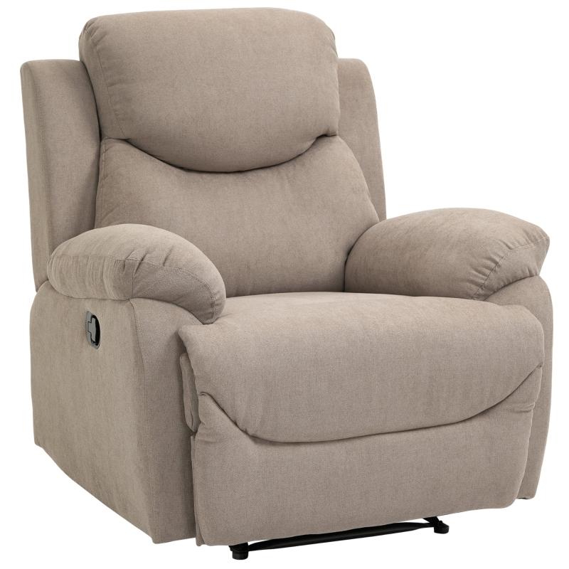 Fotel relaksacyjny odchylany o 150° sofa jednoosobowa recliner TV fotel lniany beżowy HOMCOM®