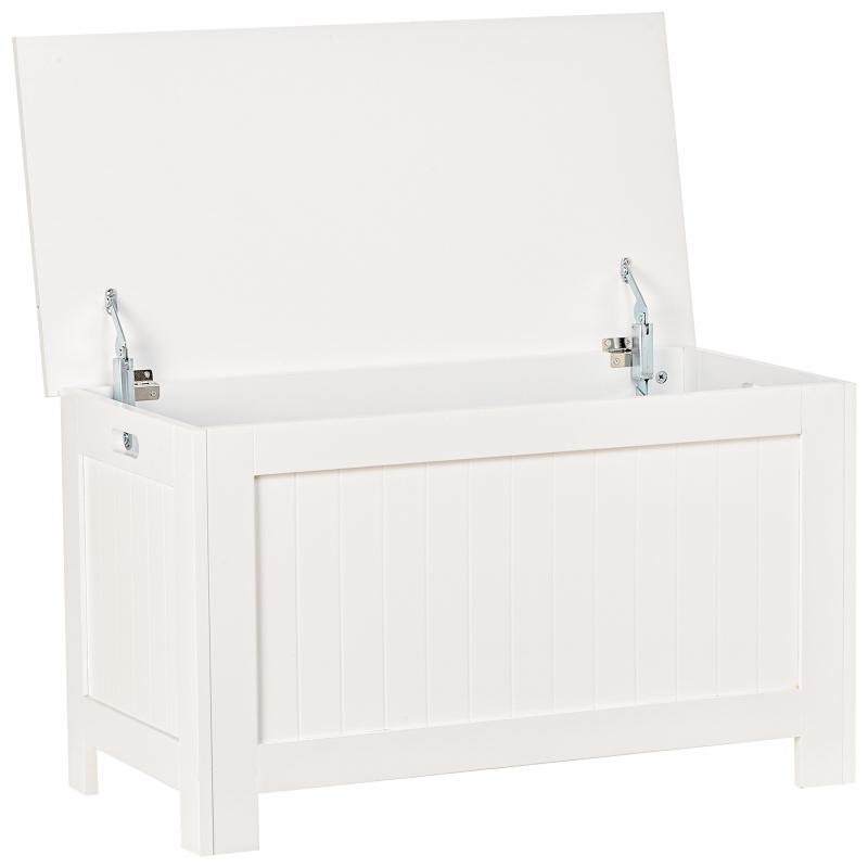 Ławka z dużym schowkiem ławka na buty skrzynia do postawienia przy łóżku MDF kolor biały 81x40x46cm