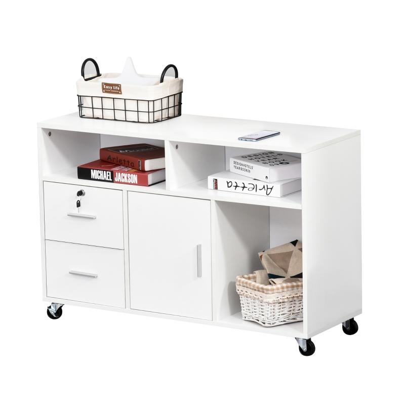 Kontenerek biurowy na kółkach szafka na dokumenty szafka biurowa z szufladami płyta wiórowa kolor biały