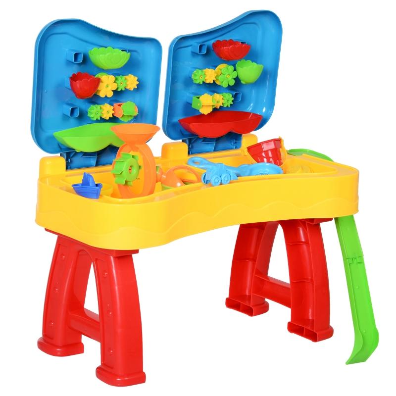 HOMCOM® Zabawka do Piasku dla Dzieci 31 Części Stolik Plaża od 3 Roku Życia PP Wielokolorowy