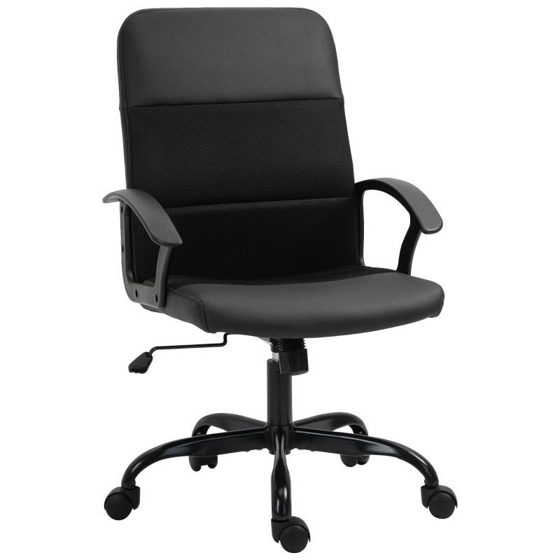 Krzesło biurowe z regulacją wysokości Krzesło do biurka Krzesło obrotowe PVC + pokrowiec z siatki, czarne