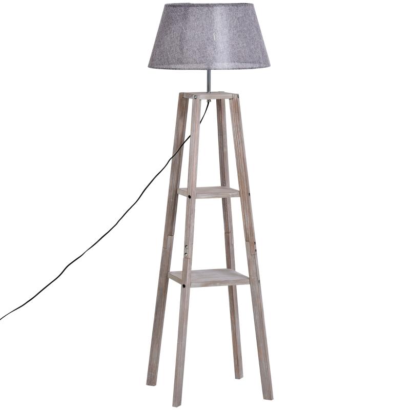 Lampa podłogowa z półką lampa podłogowa skandynawska lampa sosna naturalny szary