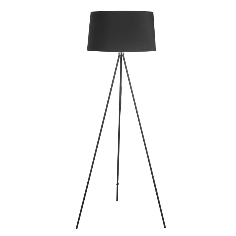 HOMCOM® LAMPA STOJĄCA TRÓJNÓG LAMPA PODŁOGOWA 40 W styl skandynawski czarna ∅ 48 x 156 cm