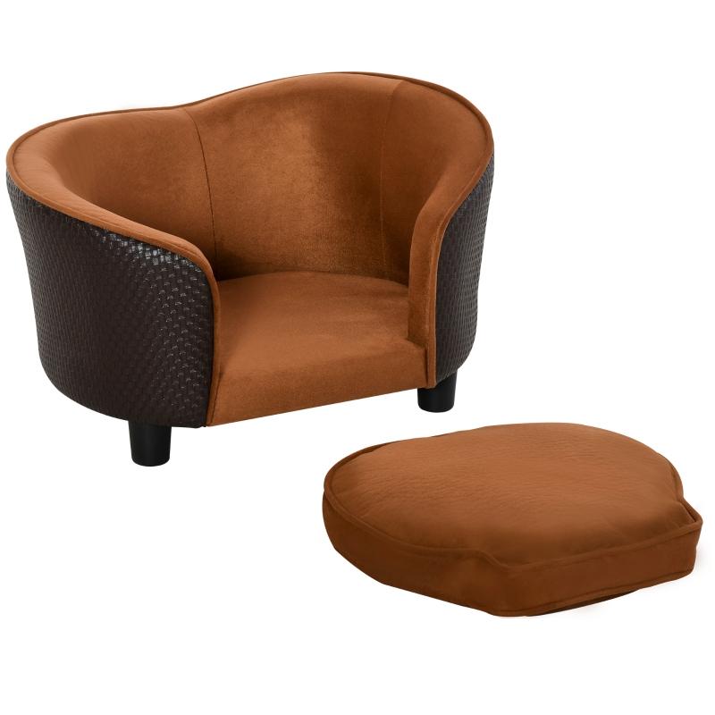 PawHut® Sofa dla Psa Kanapa dla Psa Zwierząt Mata Łóżko Imitacja Ekozamsz Brązowa