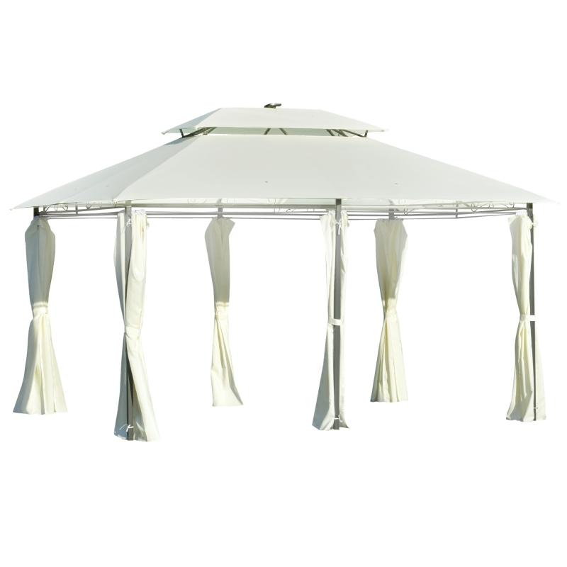 Altana ogrodowa 4 x 3 m pawilon namiot ogrodowy z oświetleniem LED stal poliester