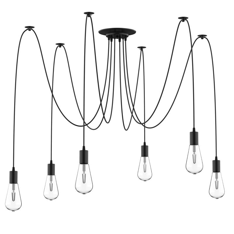 Lampa sufitowa Żyrandol z 6 regulowanymi ramionami i 6 żarówkami kształt pająka