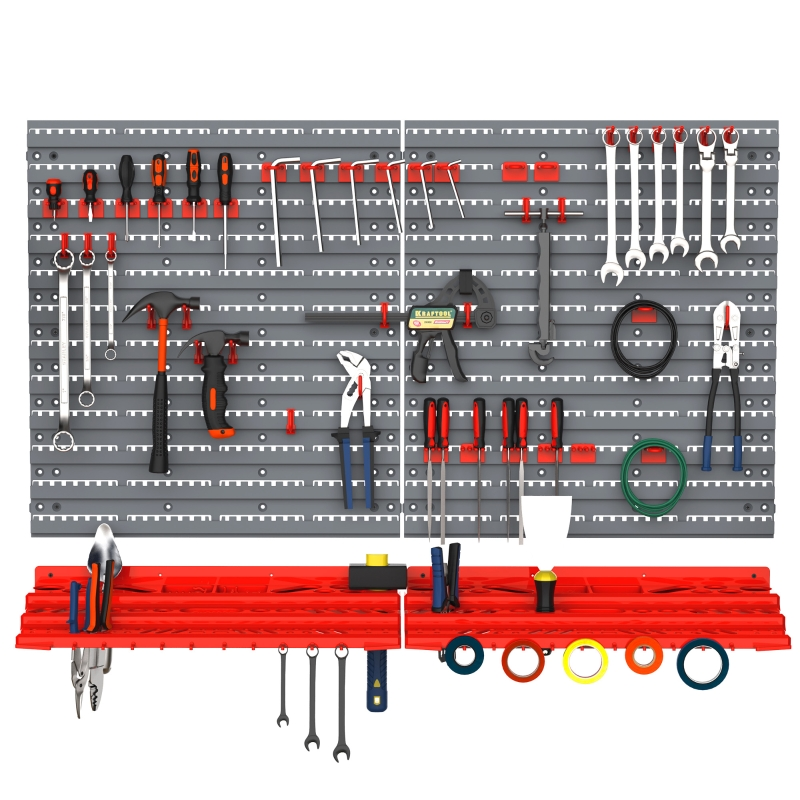 Tablica na narzędzia półka ścienna 54 elementy uchwyty na narzędzia organizer narzędziowy zestaw haczyków kolor szary+czerwony