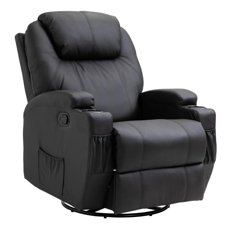 Fotel do masażu Fotel telewizyjny Fotel Fotel do telewizora z funkcją ogrzewania Czarny