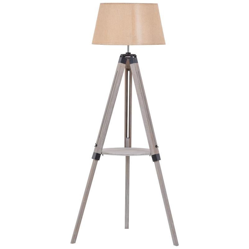 Lampa podłogowa z półką Lampa podłogowa z regulacją wysokości Lampa naturalny beżowy vintage
