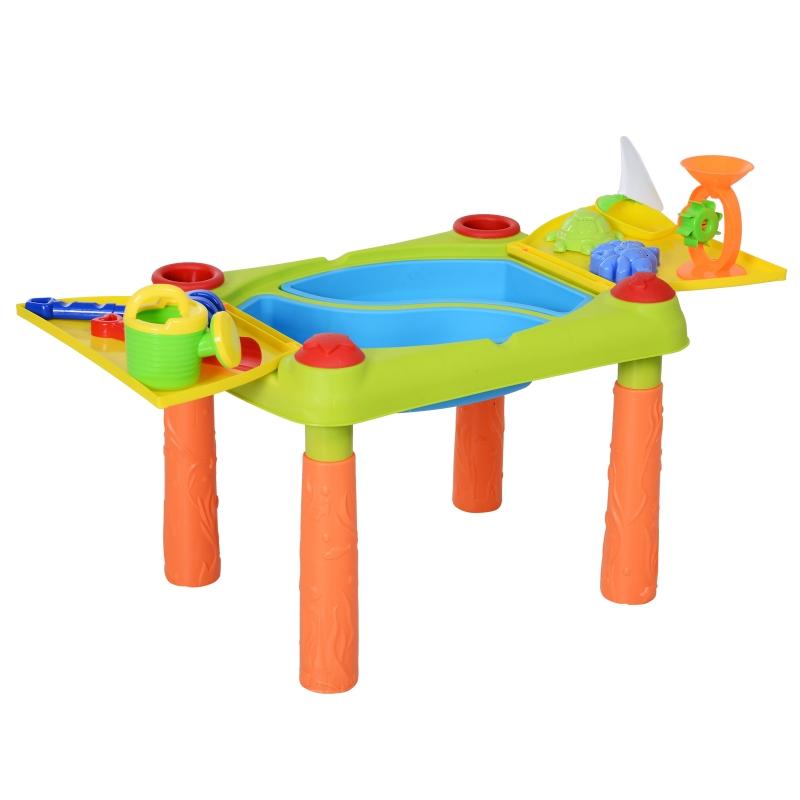 HOMCOM® Zabawka do Piasku dla Dzieci 16 Części Stolik Plaża od 3 Roku Życia PP Wielokolorowy