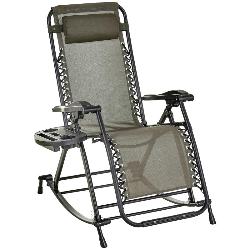 Fotel leżak bujany składany z zagłówkiem regulowane oparcie stojak na napoje szary do 120 kg Outsunny