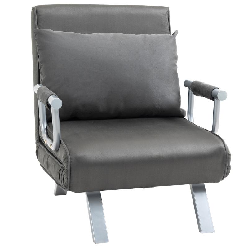 Rozkładany fotel z funkcją spania podłokietniki łóżko rozkładane łóżko dla gości szezlong 3w1 szary