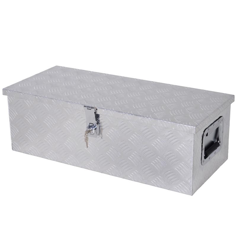 Skrzynka na narzędzia bezpieczna z zamkiem Skrzynka narzędziowa Walizka narzędziowa przenośna aluminium kolor srebrny