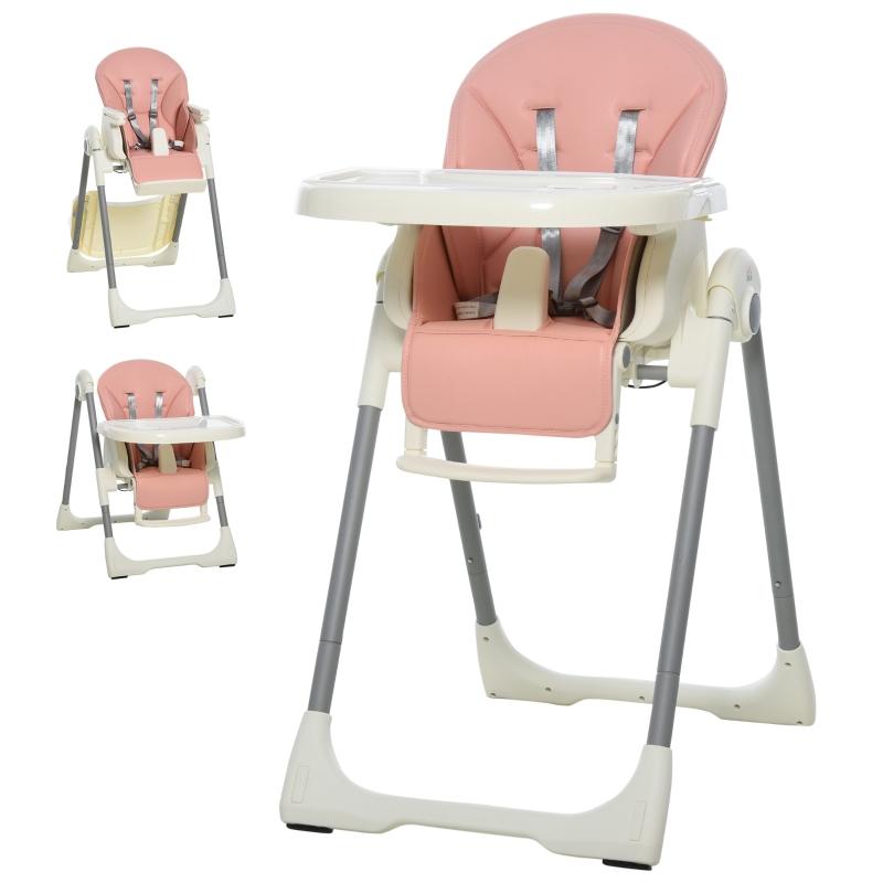 Krzesełko do karmienia dla niemowląt Krzesełko niemowlęce regulowane i składane dla dzieci w wieku 6-36 miesięcy PP stal różowy