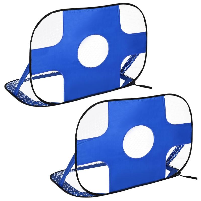 HOMCOM Bramki do piłki nożnej, Bramka pop up, Przenośna siatka do piłki nożnej, Zestaw 2 minibramek, mobilne, z torbą do przenoszenia, składane, niebieski, 123 x 80 x 80 cm