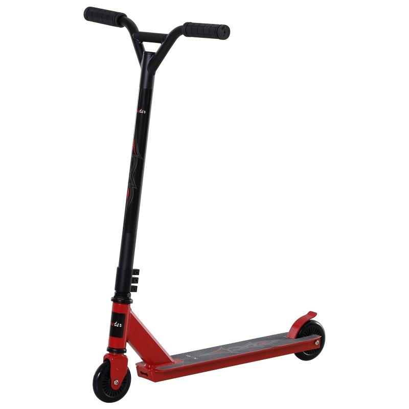 Homcom® Hulajnoga Wyczynowa Freestyle Triki Kółka Poliuretanowe od 14 Lat Aluminium Czerwona