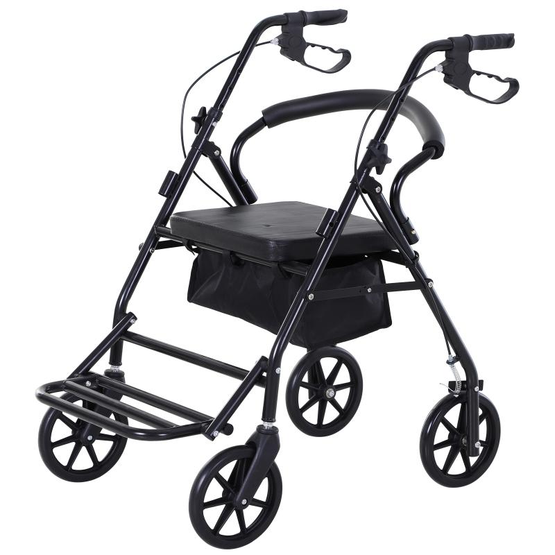HOMCOM Balkonik z krzesłem, Składany chodzik, Podpórka do chodzenia, mobilność, ze schowkiem, z hamulcem, uchwyty z 4-stopniową regulacją, lekki, metalowy, czarny 57,5 x 87 x 82-90 cm