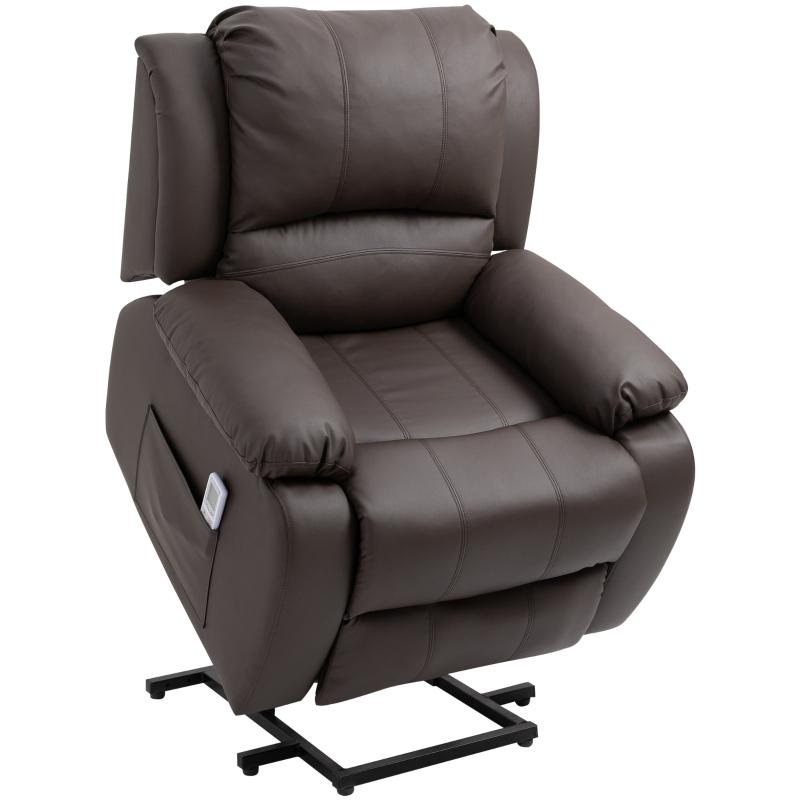 Elektryczne krzesło podnoszące masaż Sofa Relax Chair Funkcja ogrzewania Funkcja Reclining Brązowy HOMCOM®