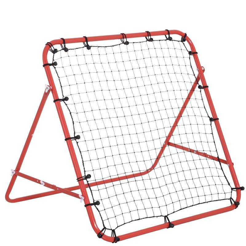 HOMCOM Rebounder do piłki nożnej Bramka odbijająca Rama z siatką, metalowa rura + tkanina PE, 96 x 80 x 96 cm, czerwony