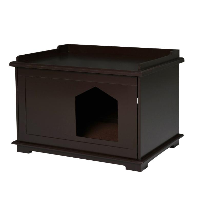 Kuweta, toaleta dla kota, domek na legowisko dla kota z obracanymi drzwiczkami MDF kolor brązowy