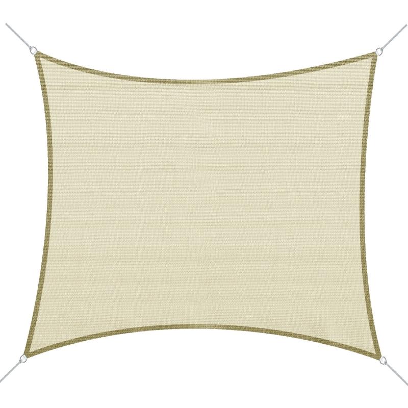 Żagiel przeciwsłoneczny kwadratowy 3x3m HDPE kremowy Outsunny
