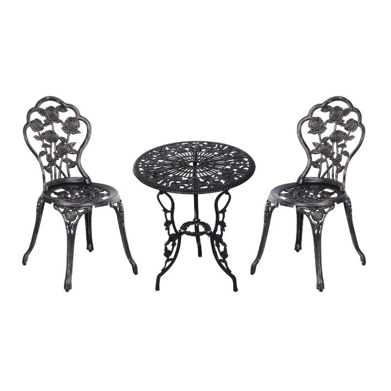 Meble ogrodowe stół 2 krzesła metalowe brązowe Outsunny
