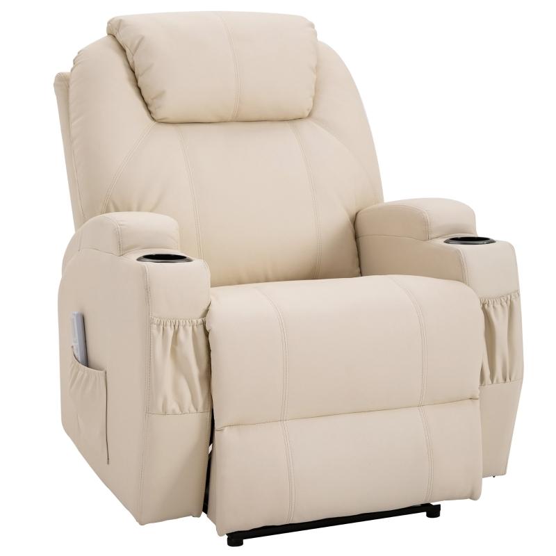 Sofa z masażem Fotel relaksacyjny Fotel TV Fotel z funkcją masażu i odchylania Beżowy HOMCOM®