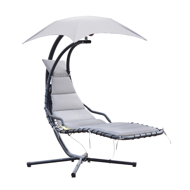 Wiszący leżak wiszący fotel wisząca huśtawka bujany leżak z daszkiem przeciwsłonecznym poliester szary