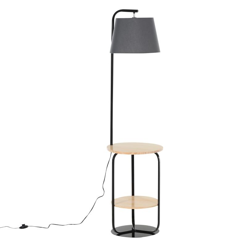 Lampa podłogowa lampa stojąca z półką drewno sosnowe + PVC 40x40x163cm