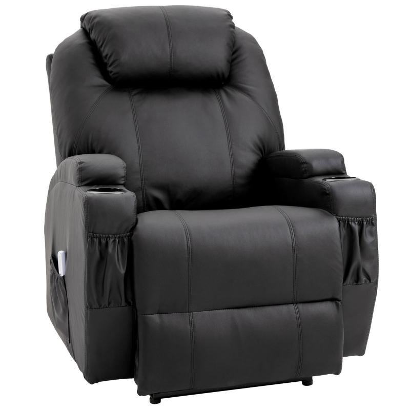 Sofa z masażem Fotel relaksacyjny Fotel TV Fotel z funkcją masażu i odchylania Czarny HOMCOM®