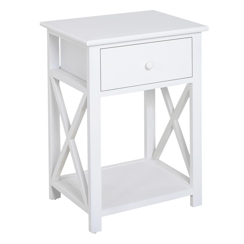 Drewniana szafka nocna stolik z szufladami biały HOMCOM